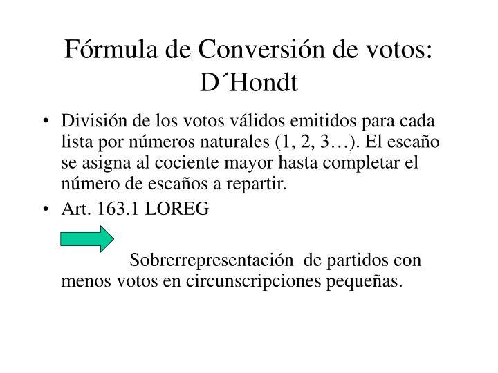 Fórmula de Conversión de votos: