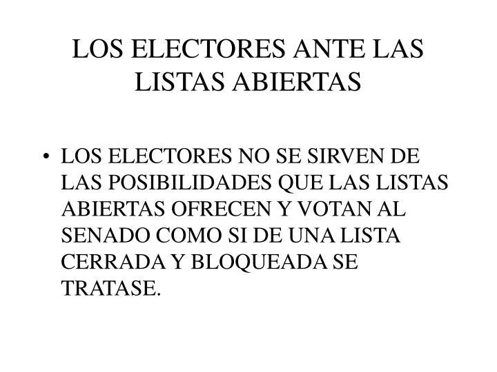 LOS ELECTORES ANTE LAS LISTAS ABIERTAS