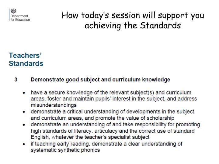 How today s session will support you achieving the standards