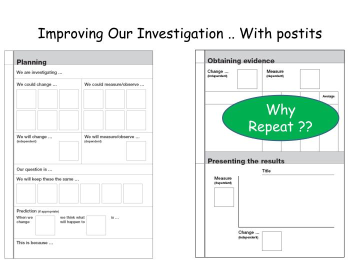 Improving Our Investigation .. With