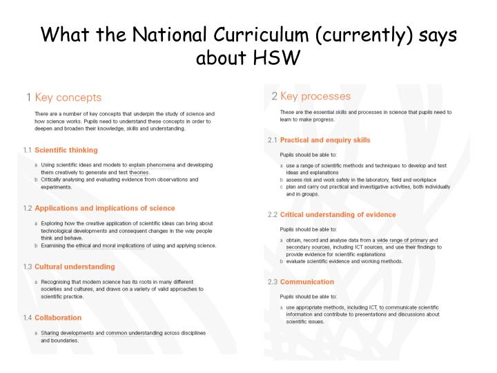What the National Curriculum (currently) says about HSW