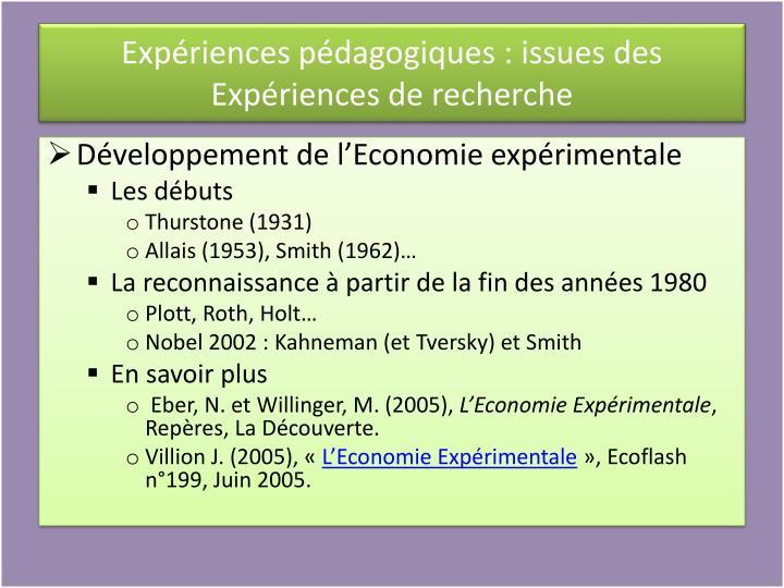 Expériences pédagogiques : issues des Expériences de recherche