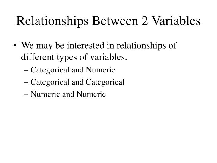 Relationships between 2 variables1