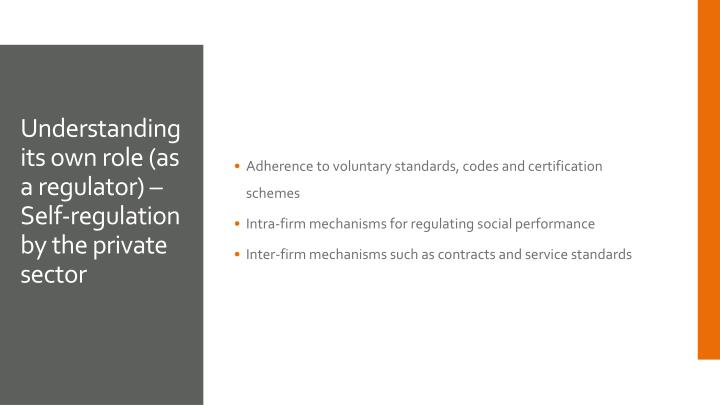 Adherence to voluntary standards, codes and certification schemes
