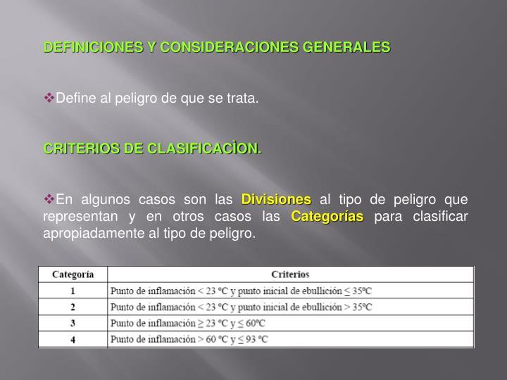 DEFINICIONES Y CONSIDERACIONES GENERALES