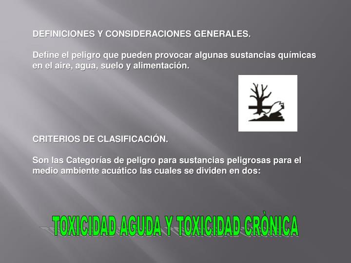 DEFINICIONES Y CONSIDERACIONES GENERALES.