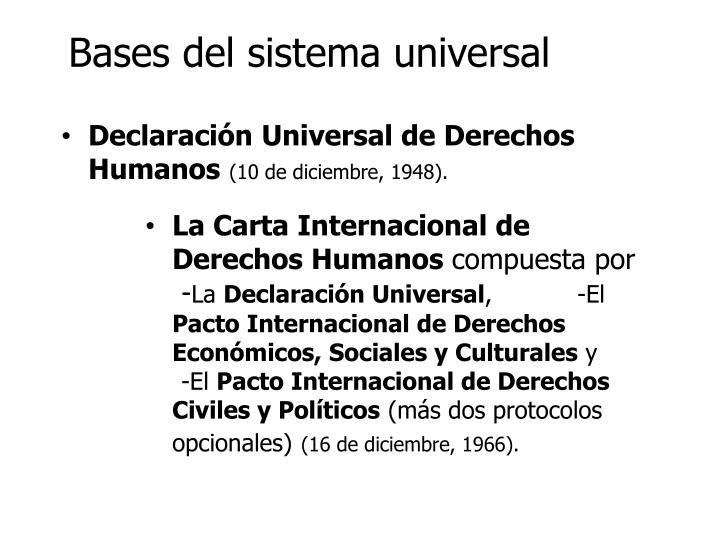 Bases del sistema universal