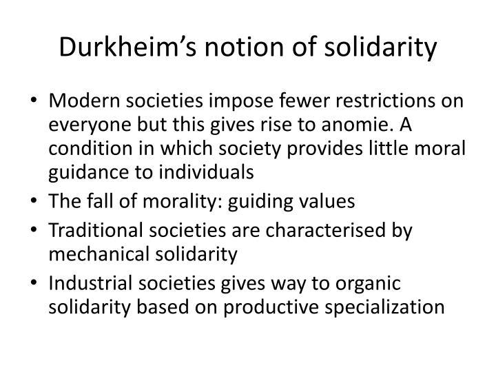 Durkheim's notion of solidarity