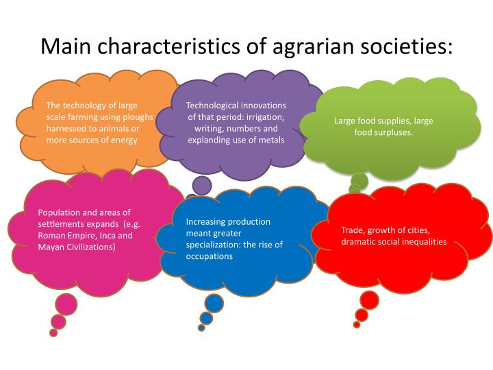 Main characteristics of agrarian societies: