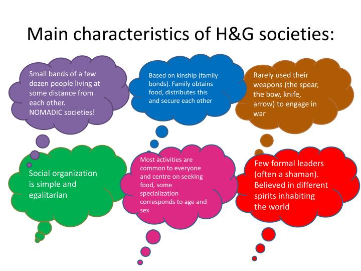 Main characteristics of H&G societies:
