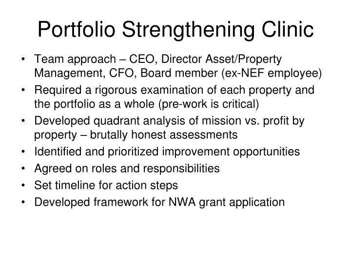Portfolio Strengthening Clinic
