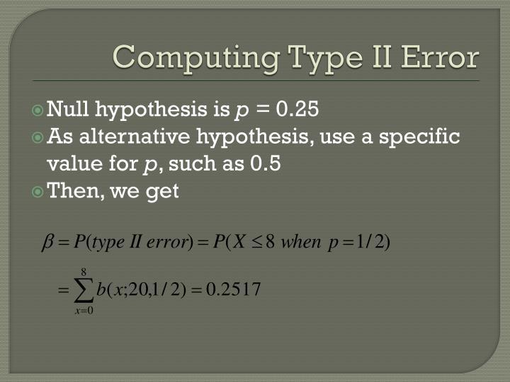Computing Type II Error