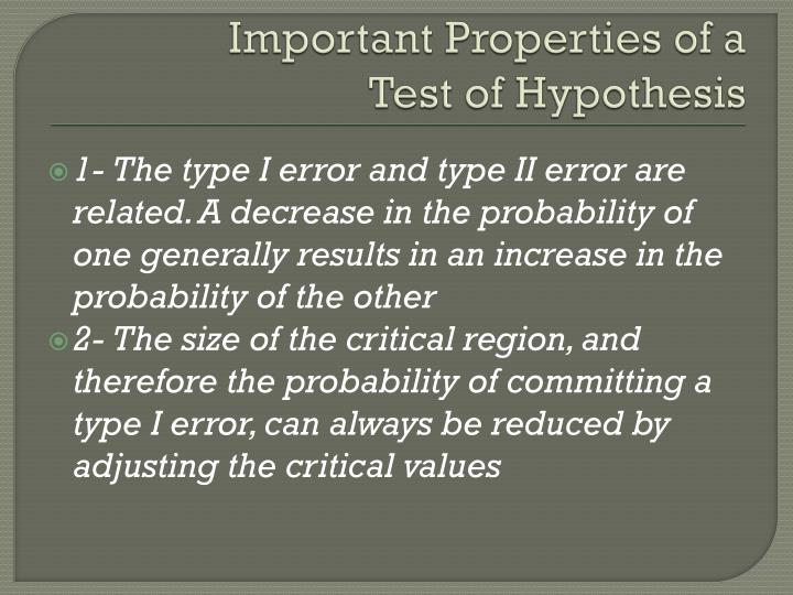 Important Properties of a
