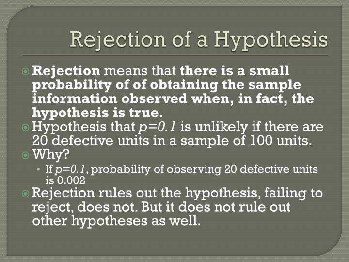Rejection of a Hypothesis
