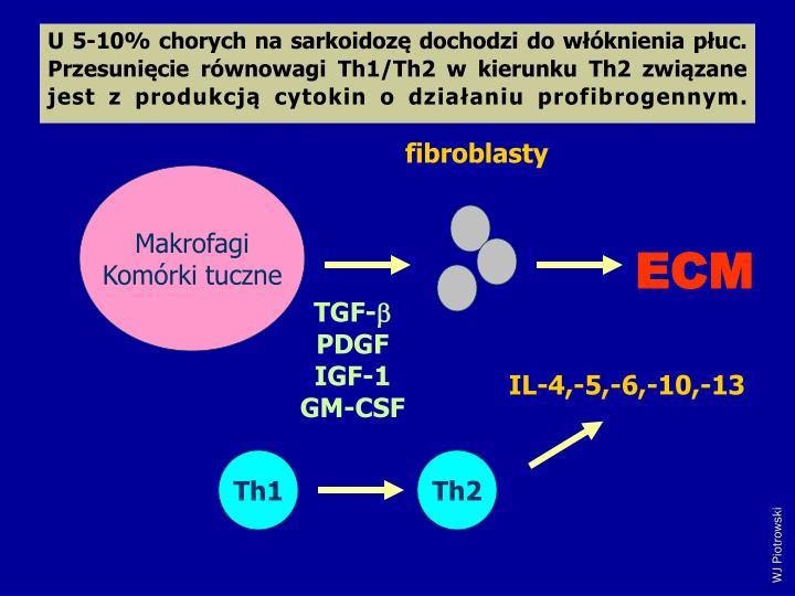 U 5-10% chorych na sarkoidoz dochodzi do wknienia puc. Przesunicie rwnowagi Th1/Th2 w kierunku Th2 zwizane jest z produkcj cytokin o dziaaniu profibrogennym.
