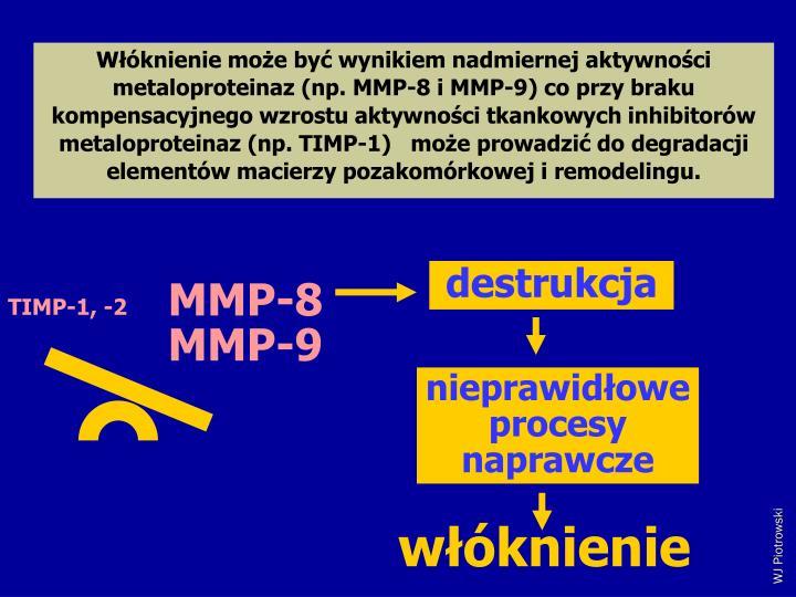 Wknienie moe by wynikiem nadmiernej aktywnoci metaloproteinaz (np. MMP-8 i MMP-9) co przy braku kompensacyjnego wzrostu aktywnoci tkankowych inhibitorw metaloproteinaz (np. TIMP-1)   moe prowadzi do degradacji elementw macierzy pozakomrkowej i remodelingu.