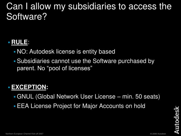 Can I allow my subsidiaries to access the Software?