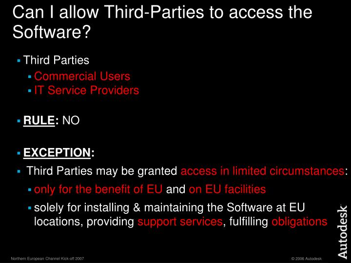 Can I allow Third-Parties to access the Software?