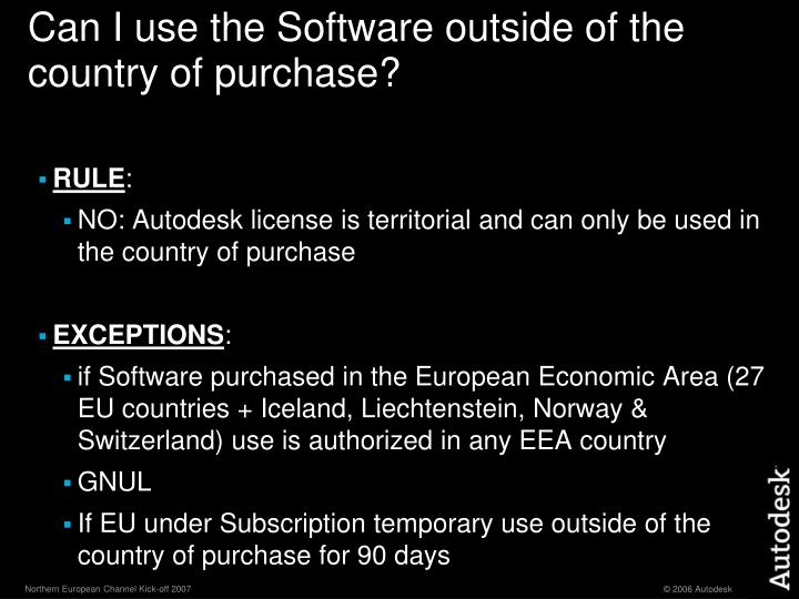 Can I use the Software outside of the country of purchase?