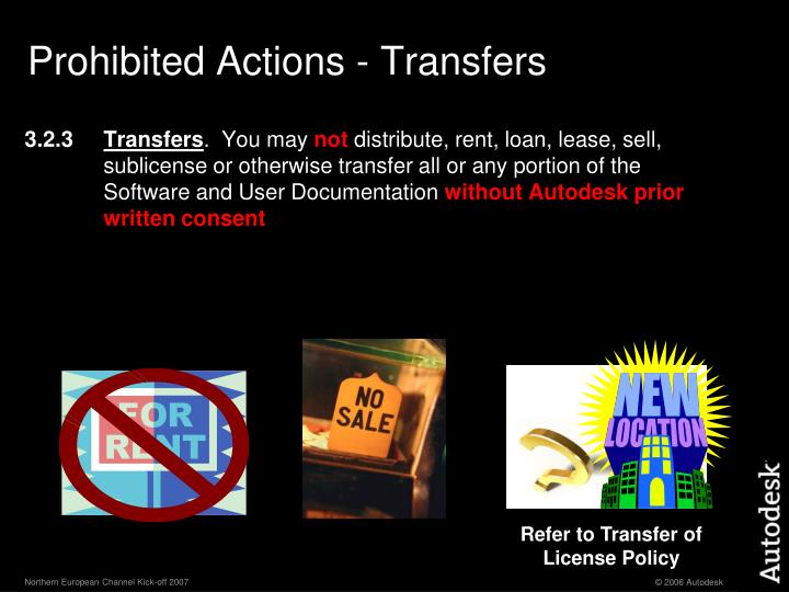 Prohibited Actions - Transfers