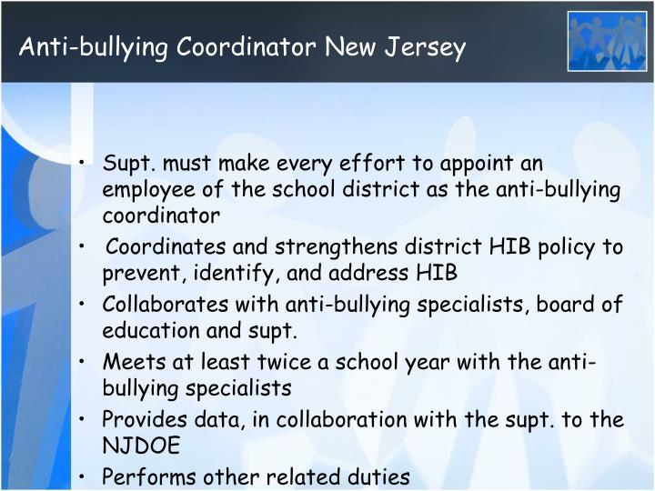Anti-bullying Coordinator New Jersey