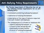 anti bullying policy requirements