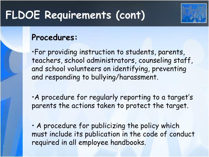 FLDOE Requirements (cont)