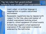 top ten rules that govern school authority over student cyber expressio ns