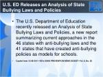 u s ed releases an analysis of state bullying laws and policies