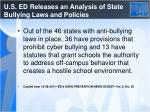 u s ed releases an analysis of state bullying laws and policies1
