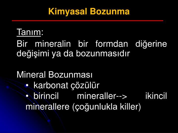 Kimyasal Bozunma