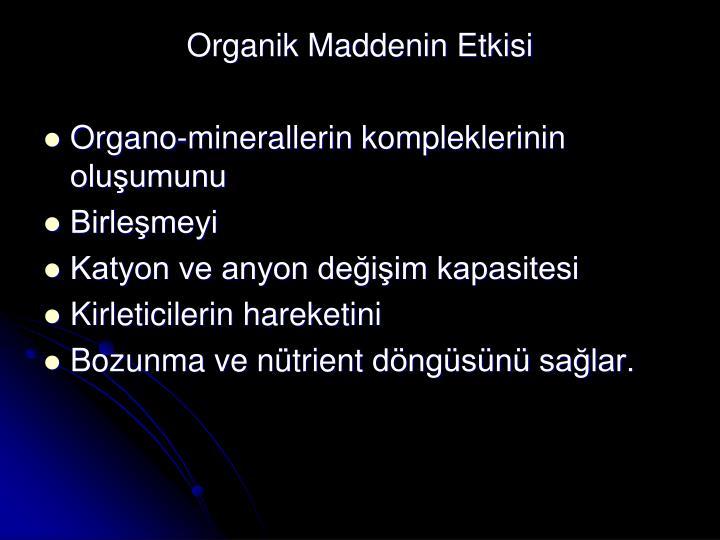 Organik Maddenin Etkisi