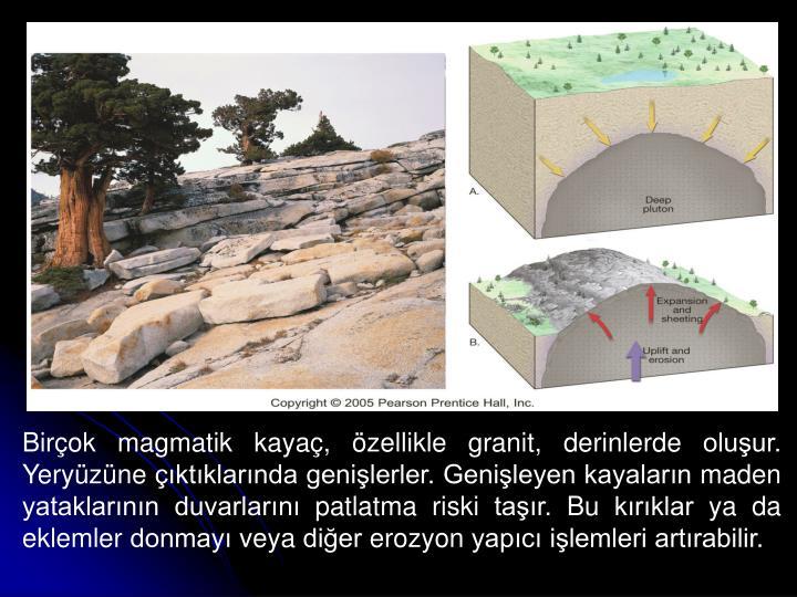 Birçok magmatik kayaç, özellikle granit, derinlerde oluşur. Yeryüzüne çıktıklarında genişlerler. Genişleyen kayaların maden yataklarının duvarlarını patlatma riski taşır. Bu kırıklar ya da eklemler donmayı veya diğer erozyon yapıcı işlemleri artırabilir.