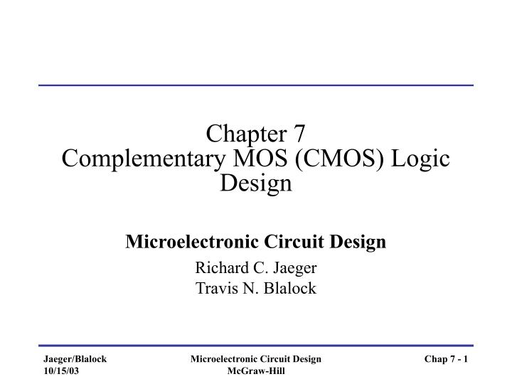 Chapter 7 complementary mos cmos logic design
