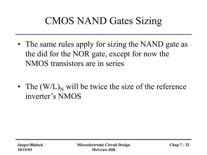 CMOS NAND Gates Sizing