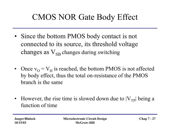 CMOS NOR Gate Body Effect