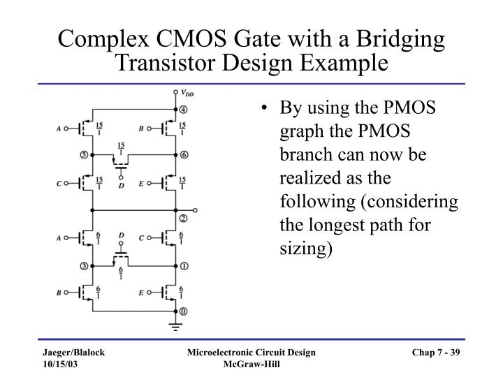 Complex CMOS Gate with a Bridging Transistor Design Example