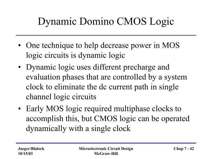Dynamic Domino CMOS Logic