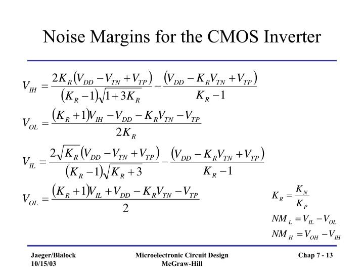 Noise Margins for the CMOS Inverter