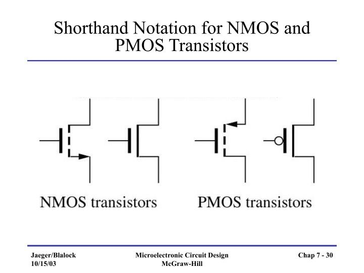 Shorthand Notation for NMOS and PMOS Transistors