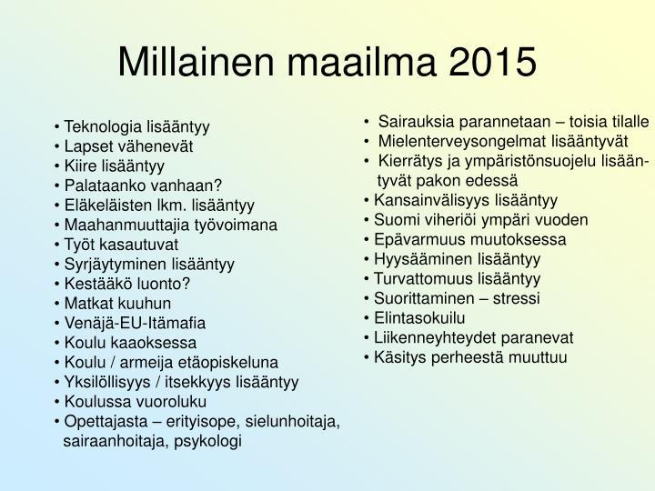 Millainen maailma 2015
