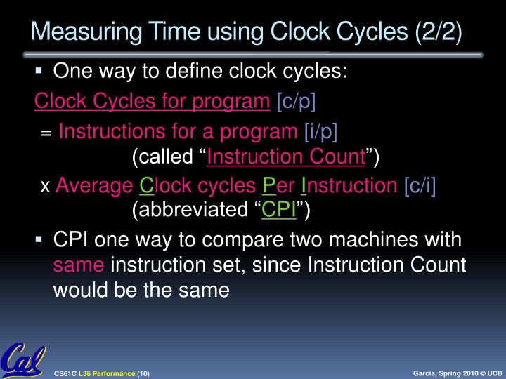 Measuring Time using Clock Cycles (2/2)