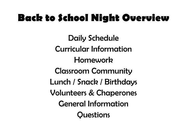 Back to school night overview