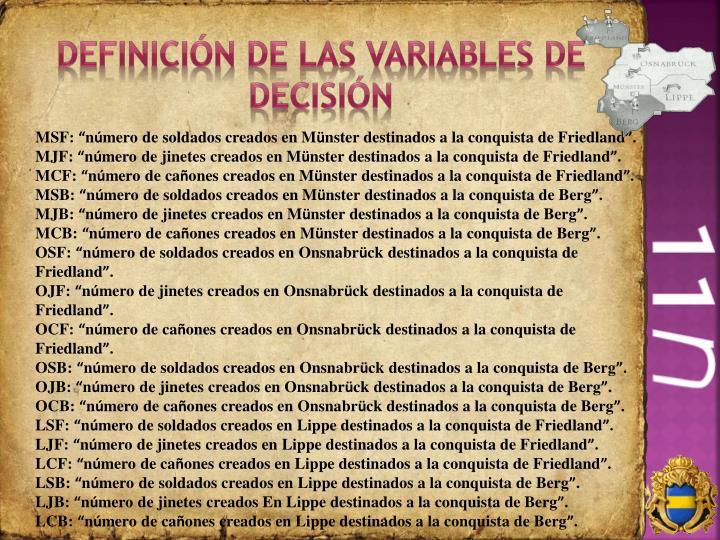 Definición de las variables de decisión