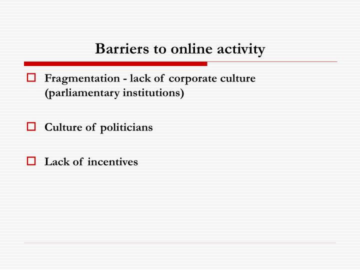 Barriers to online activity