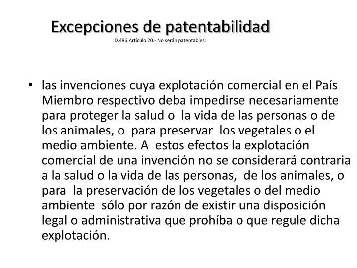 Excepciones de patentabilidad