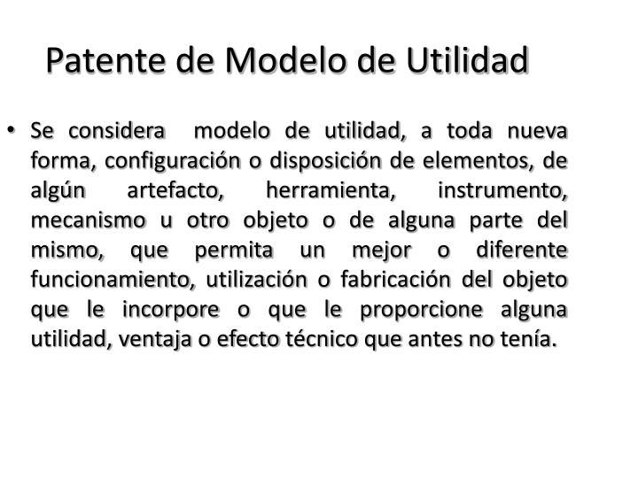 Patente de Modelo de Utilidad