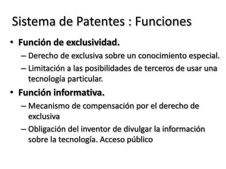 Sistema de Patentes : Funciones