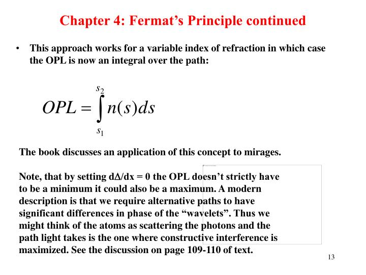 Chapter 4: Fermat's Principle continued