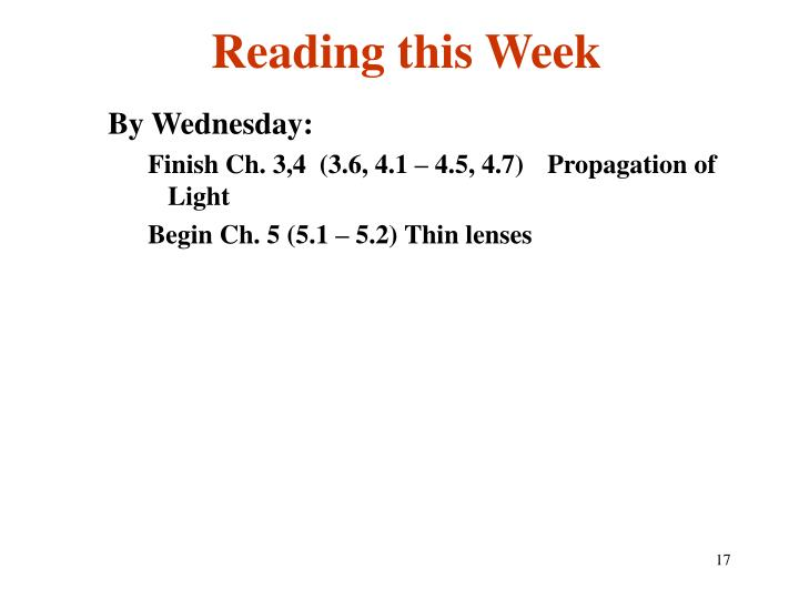 Reading this Week